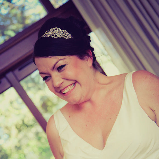 Colette wears Starlet's Heirloom Side Tiara by Glitzy Secrets