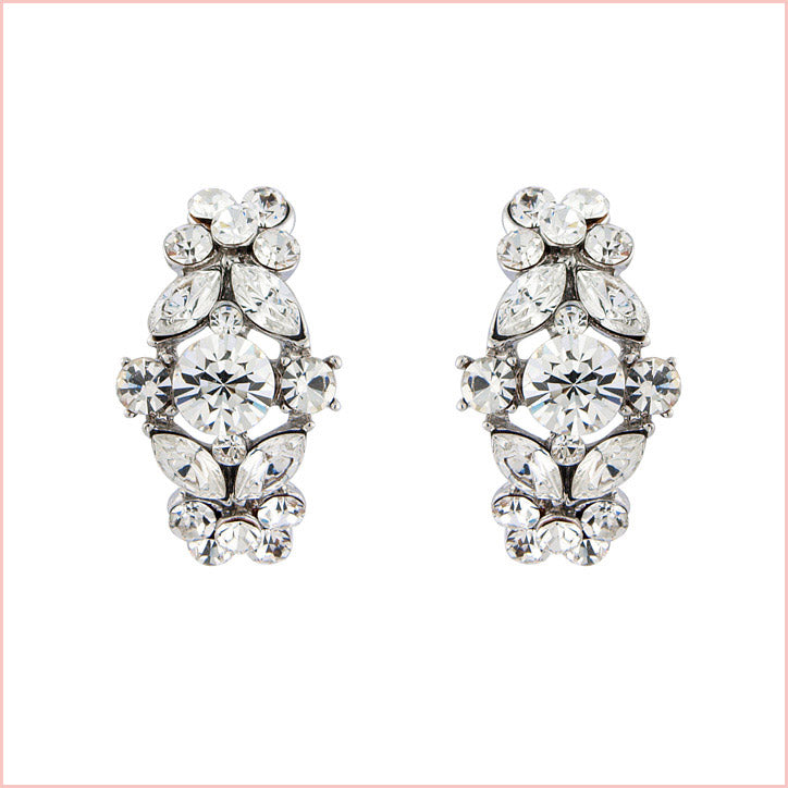 Collection of crystal wedding clip on earrings