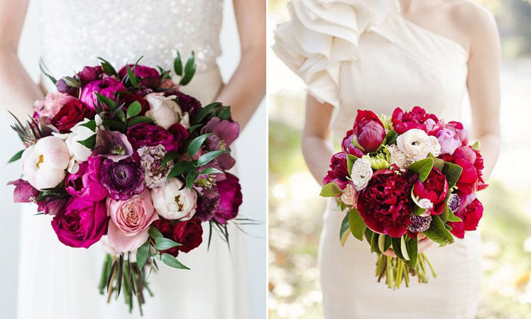 beautiful peony bouquets in darker shades