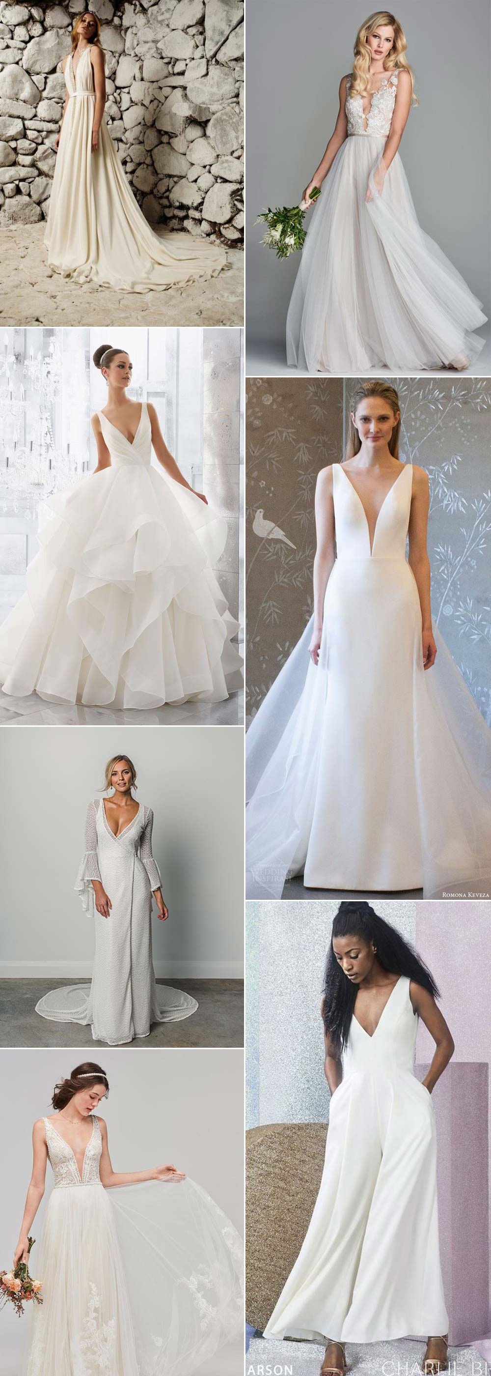 Deep V fronted wedding dresses