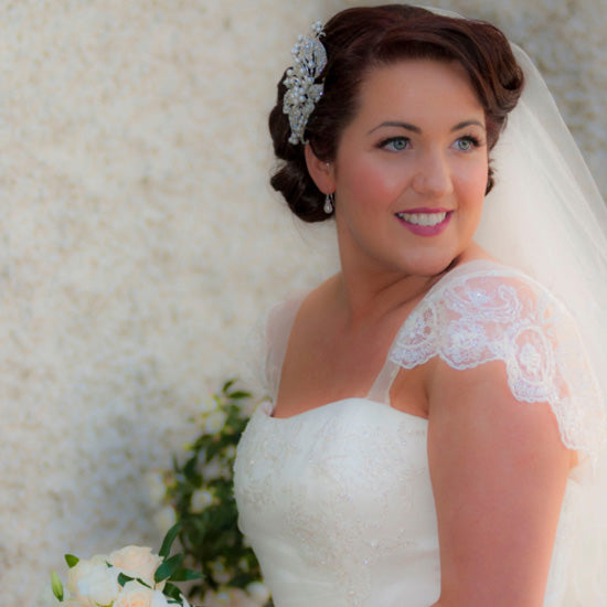 Doireann wears Exquisitely Pearl Large Hair Comb by Glitzy Secrets