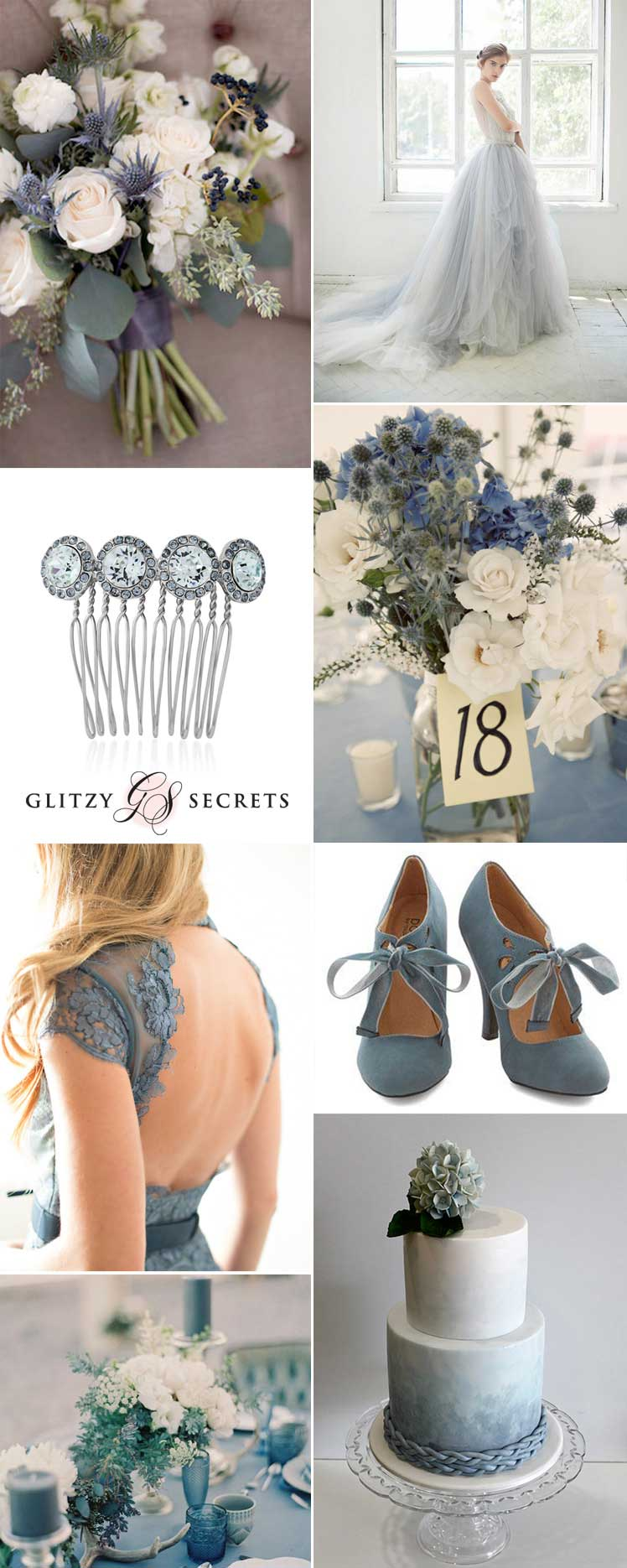 Inspiration for a chic grey and dusty blue wedding theme