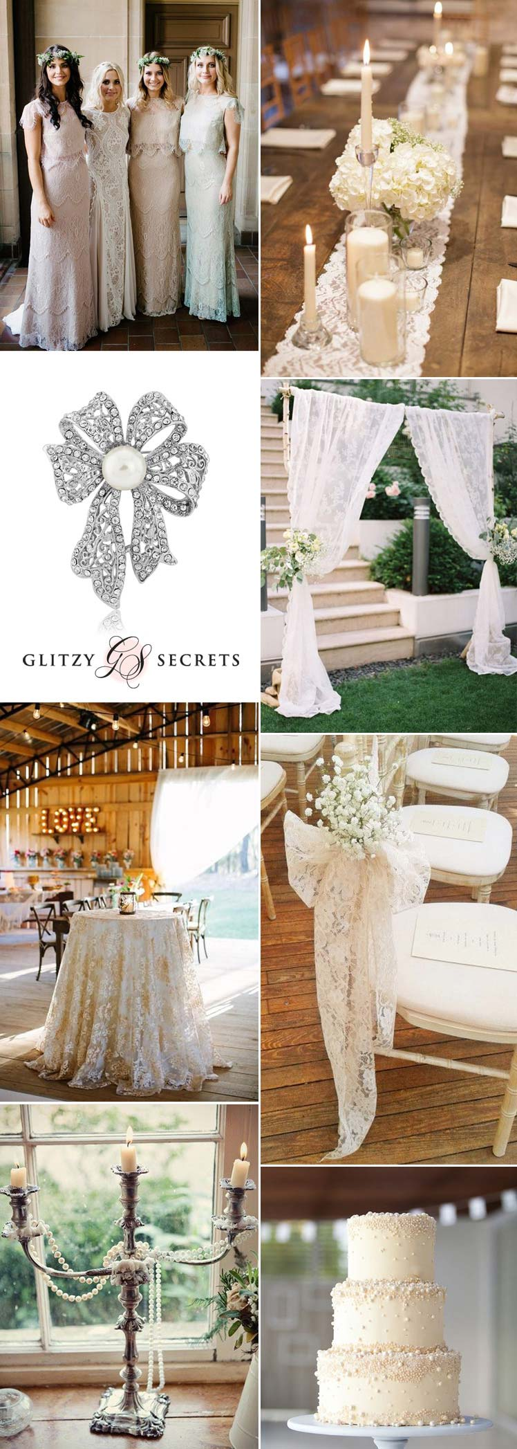 beautiful lace and pearl wedding ideas