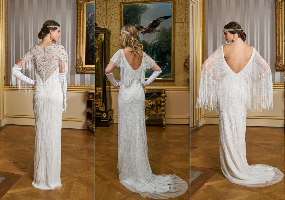 Wedding dresses with back detail from Eliza Jane Howell's Grand Voyage Collection