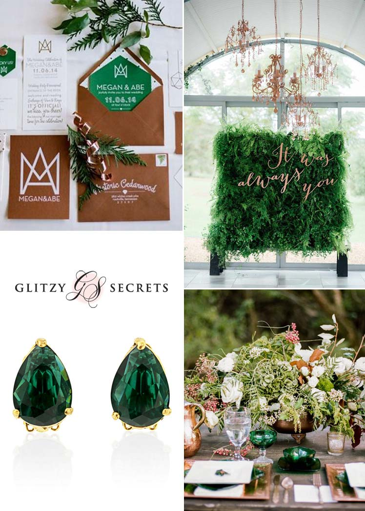 beautiful emerald and metallic wedding ideas for Autumn