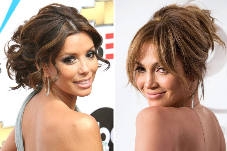 Eva Longoria and Jennifer Lopez go for wavy up-do hairstyles