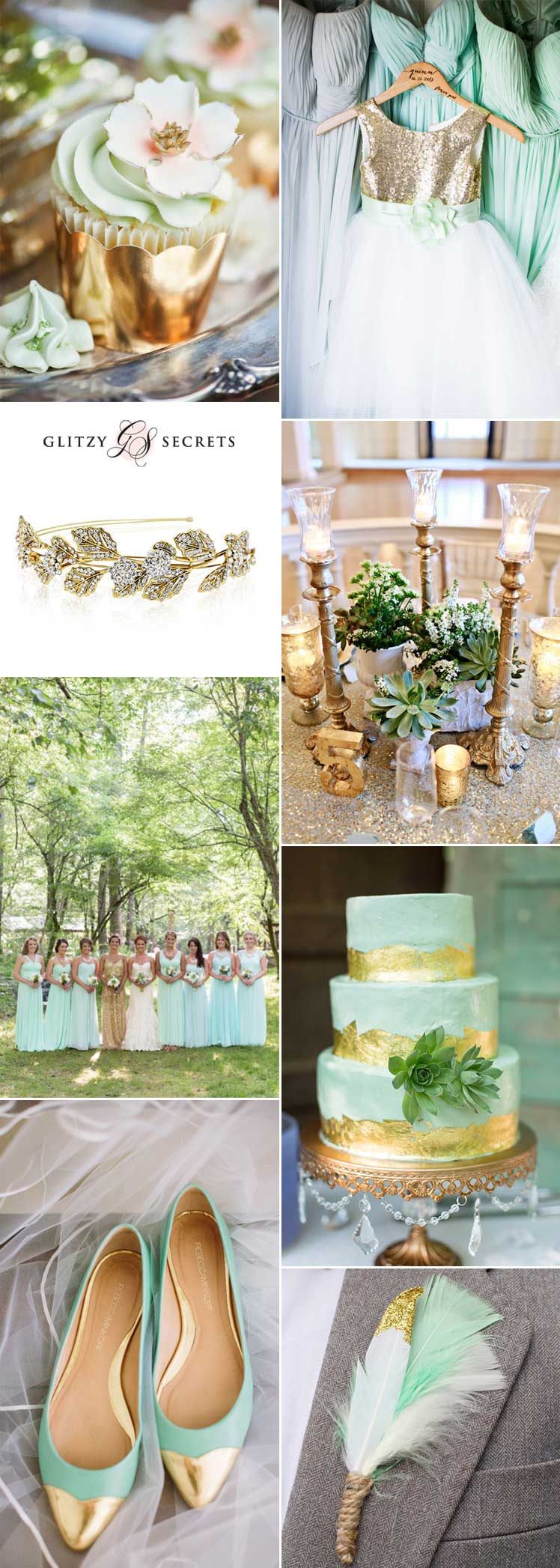 beautiful mint and gold wedding inspiration