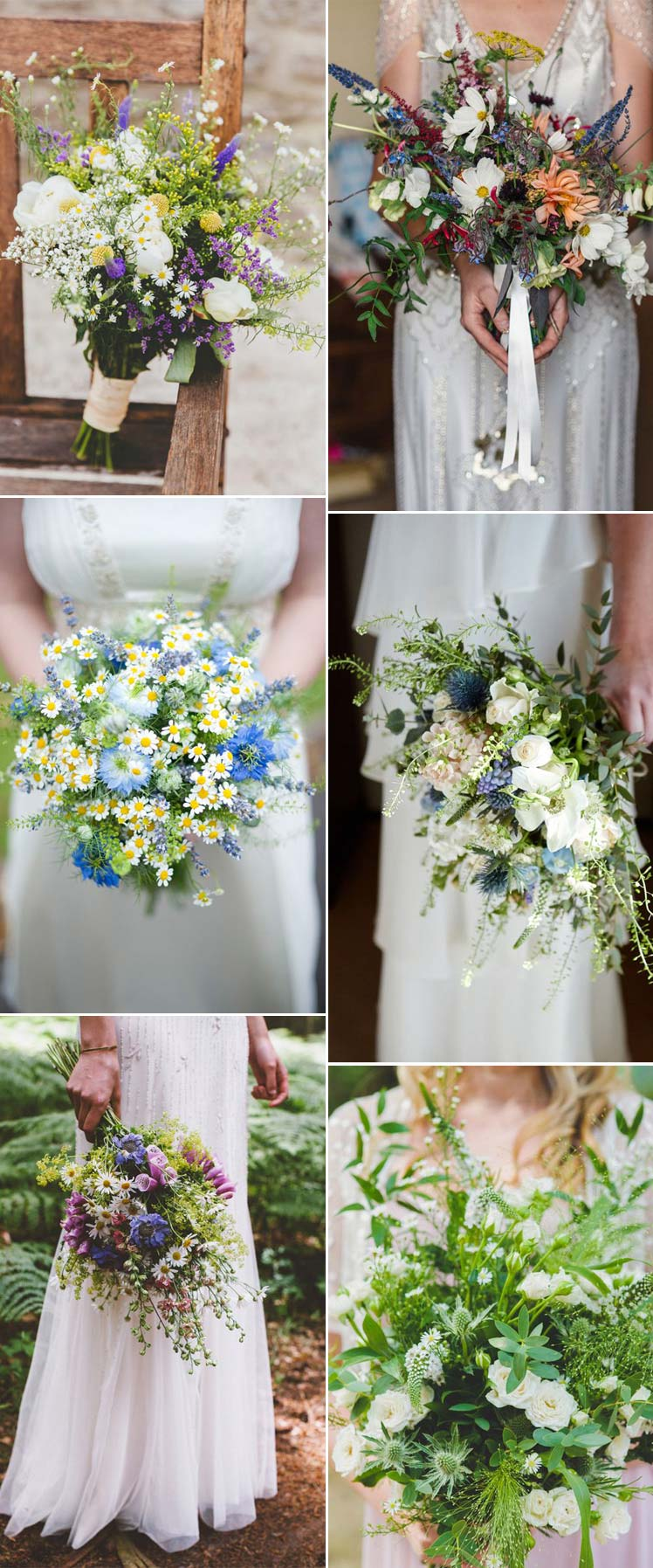 beautiful wildflower wedding bouquets