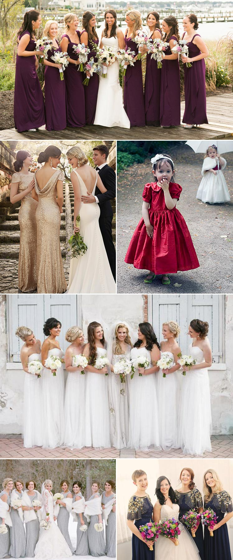 beautiful winter bridesmaid and flower girl dresses