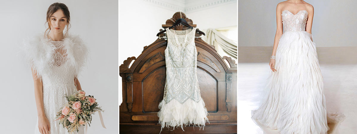 Feather wedding dress trend