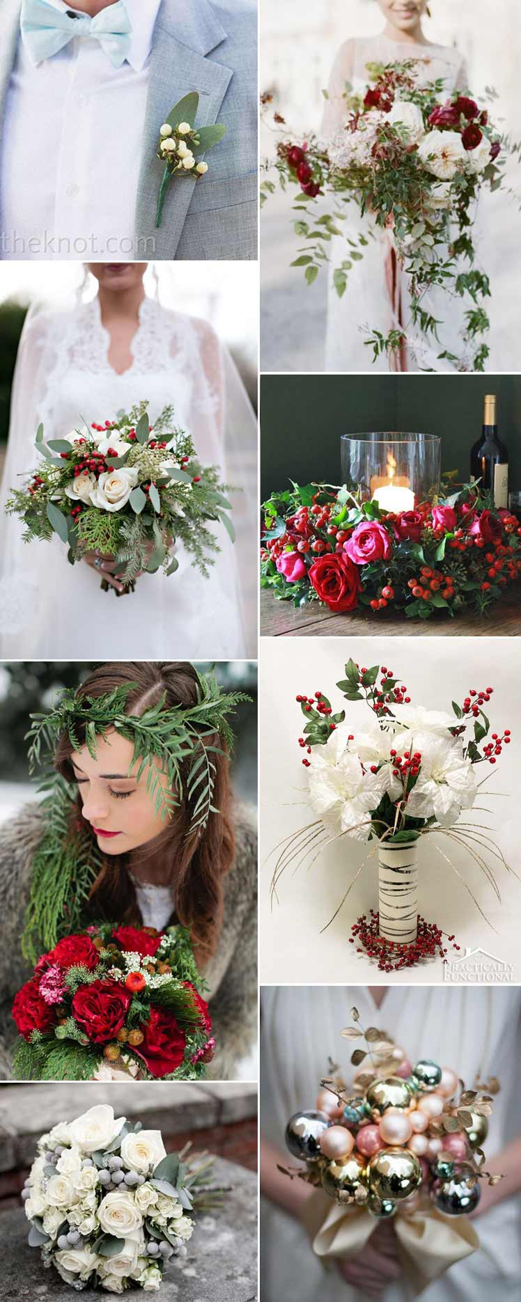 Christmas theme wedding flowers ideas