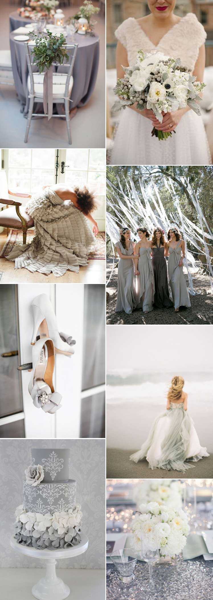 Mood board for a grey wedding colour scheme