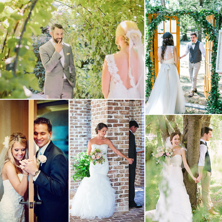 15 beautiful first look wedding photos glitzy secrets romantic first look wedding photos junglespirit Images