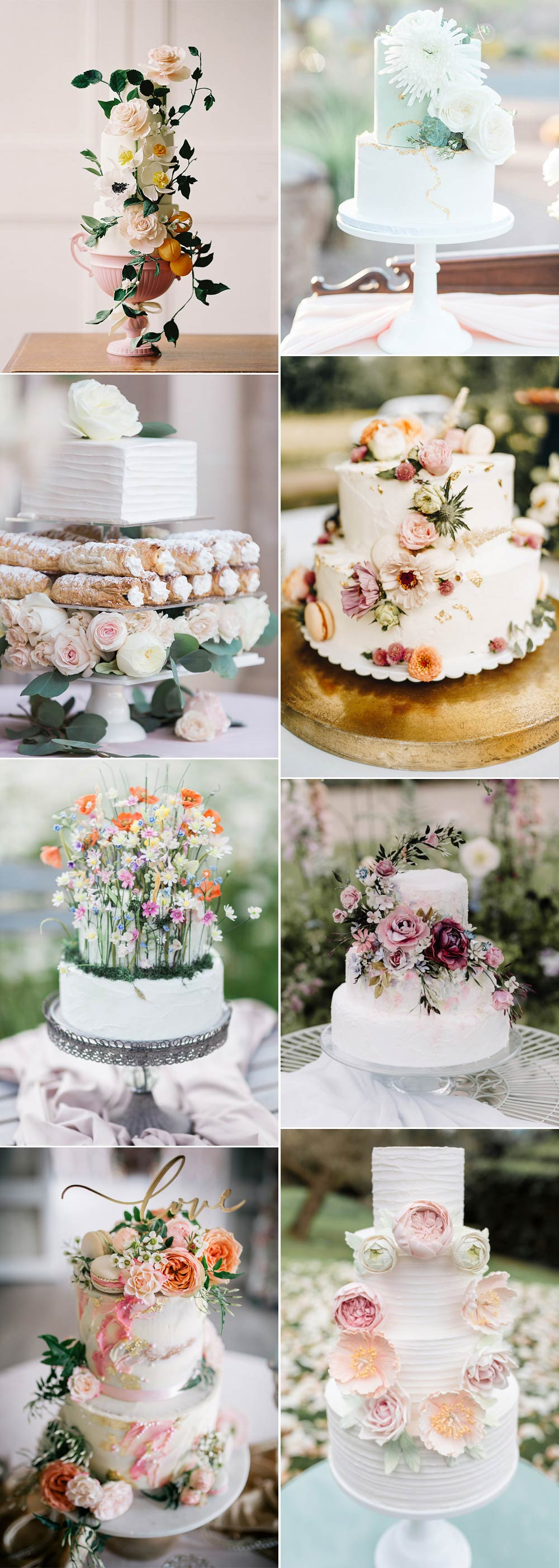 floral wedding cakes for spring