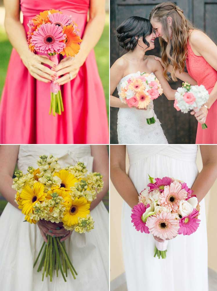 beautiful summer gerbera wedding bouquets