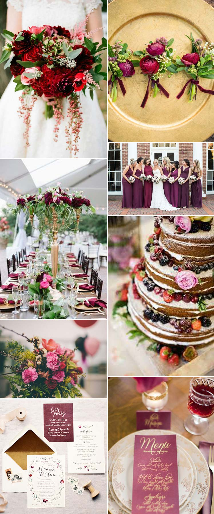 Inspiration for a berry wedding day theme