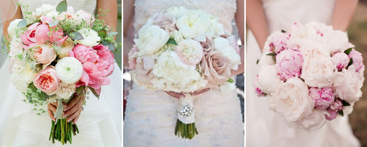 Two colour peony bridal bouquets