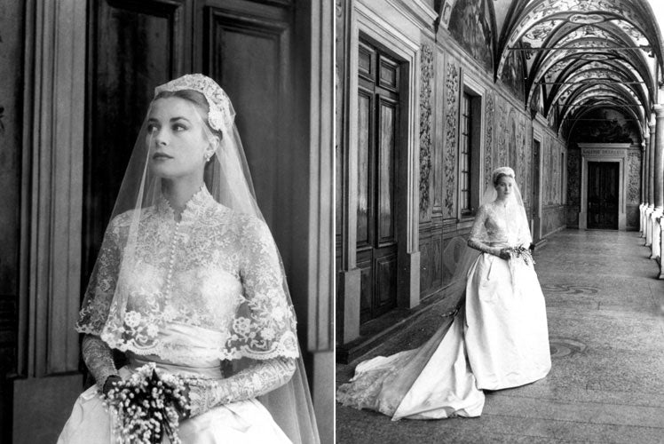 Grace's elegant wedding gown designed by the talented Helen Rose