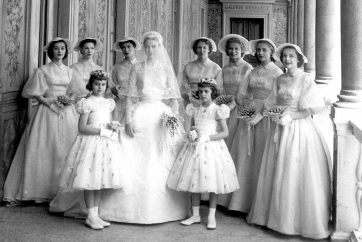 Grace Kelly with her beautiful bridesmaids and flower girls
