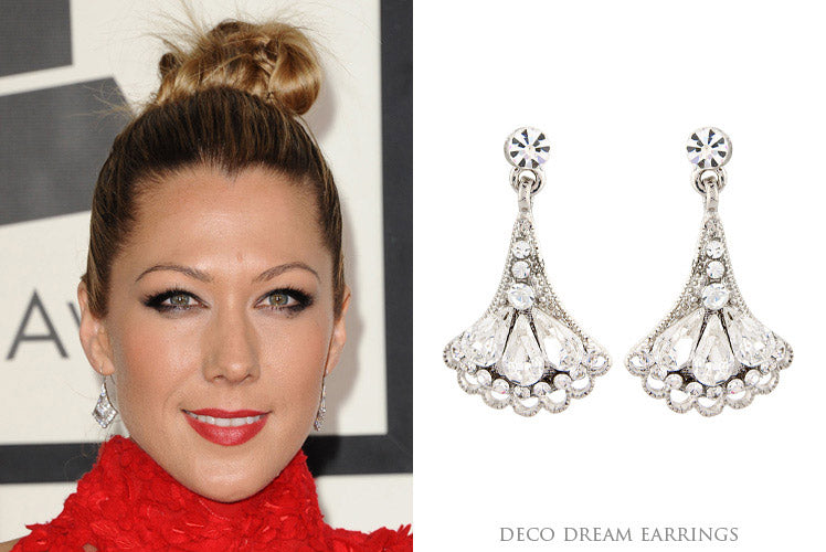 Colbie Caillat sparkles in Art Deco fan earrings