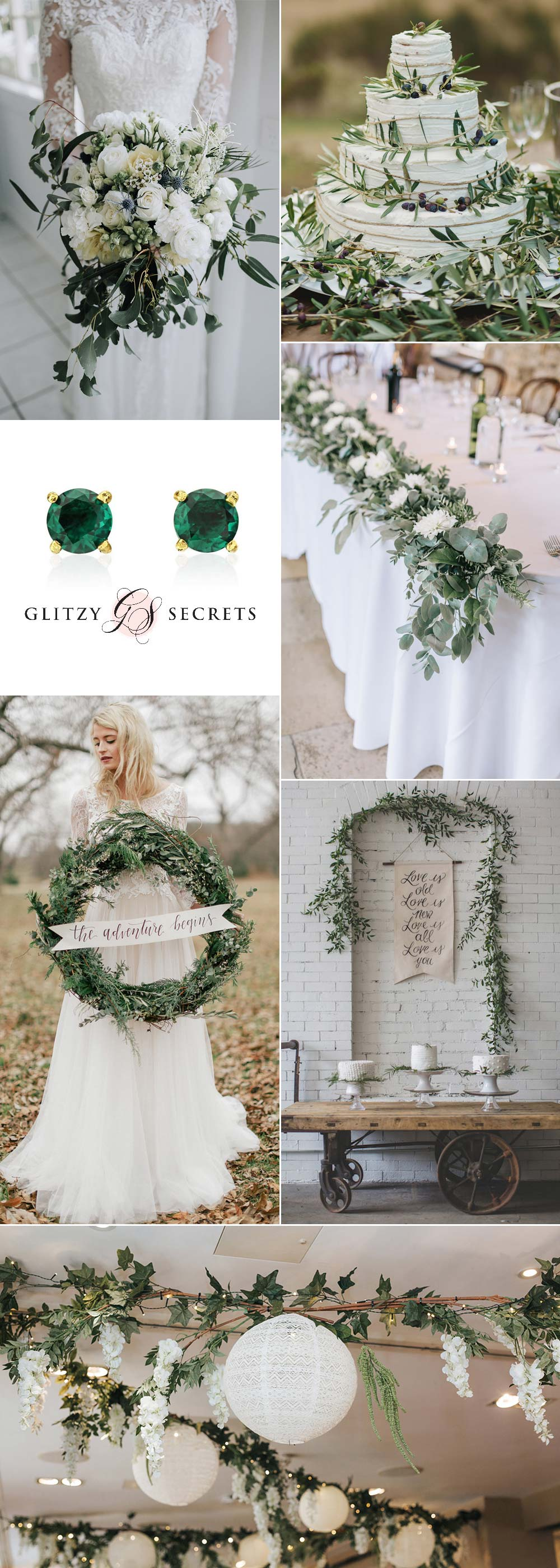 White and Green Christmas Wedding Ideas