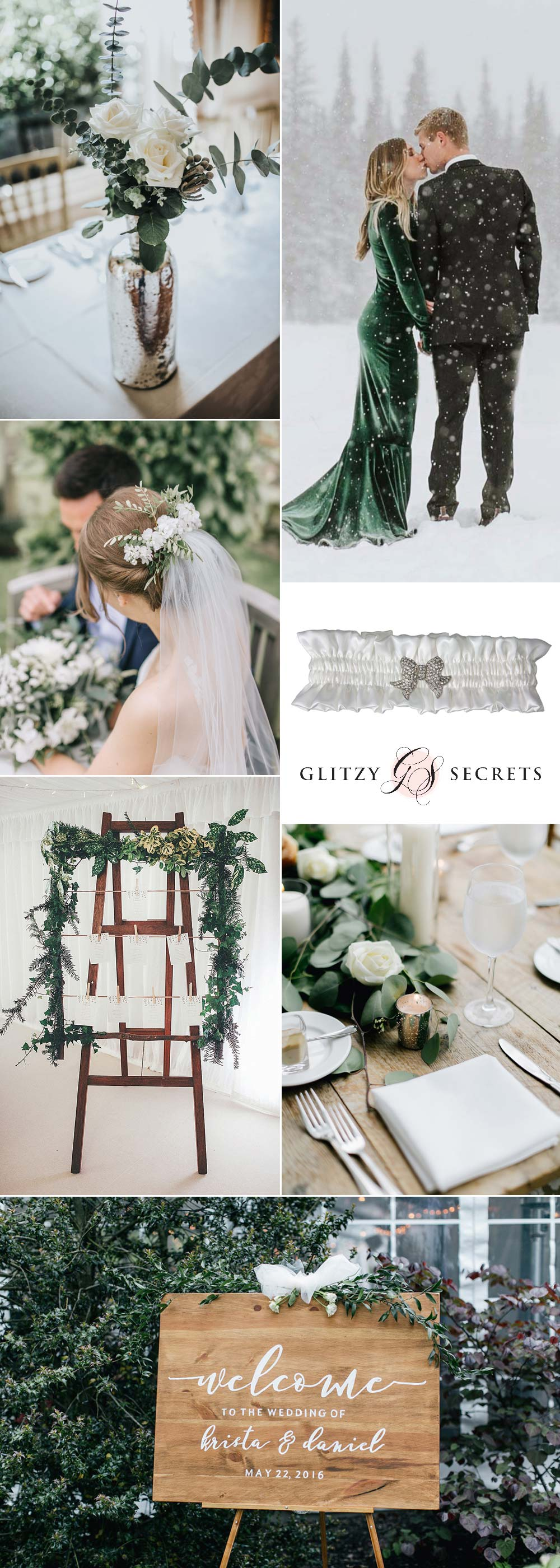 green and white winter wedding day