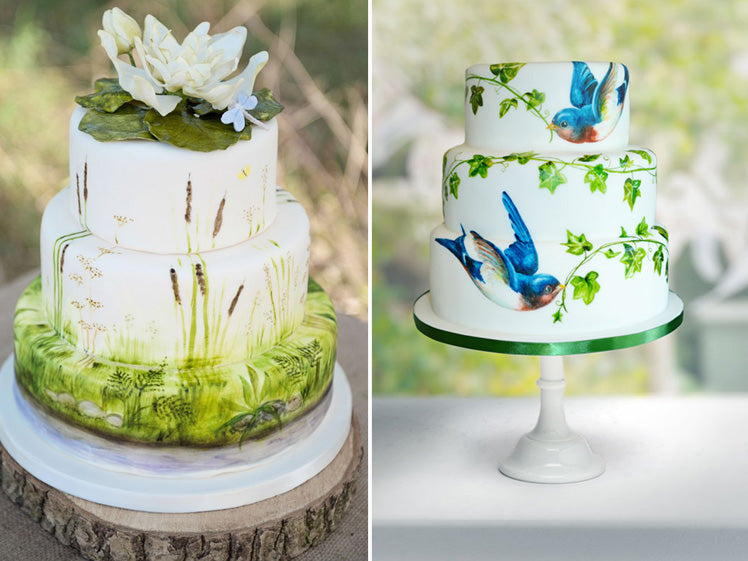 nature inspired hand painted wedding cakes