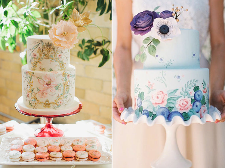 elegant hand painted wedding cakes