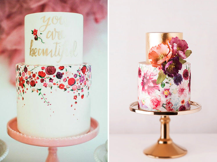 gorgeous hand painted wedding cakes