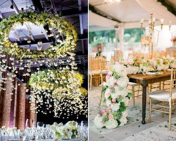 hanging and trailing flowers for statement centrepieces