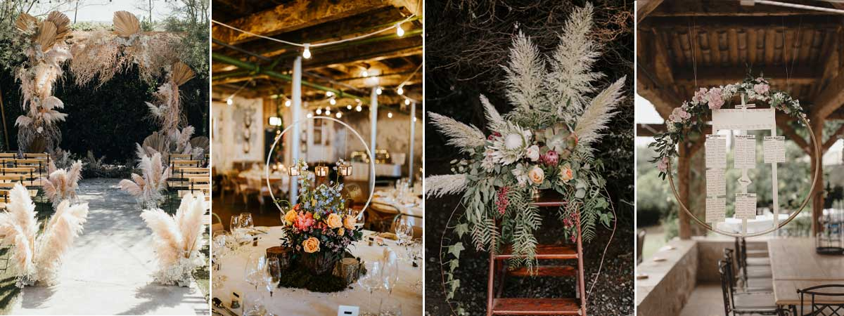 Pampus and hoops wedding ideas