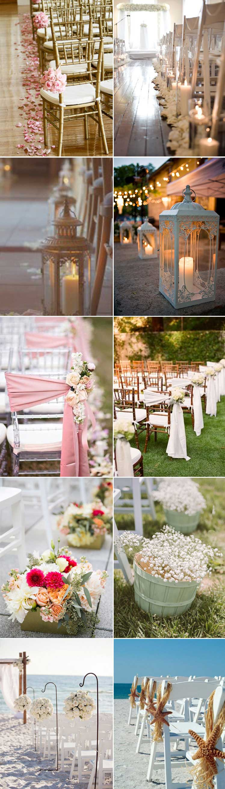 decorate your wedding aisle with petals, lanterns or chair sashes
