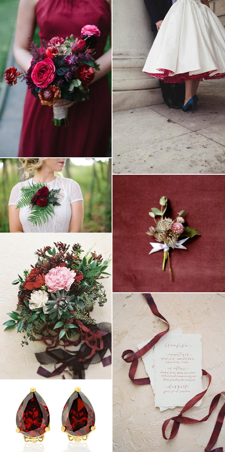 Garnet wedding colour scheme ideas