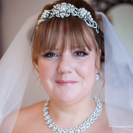 Jayne wears Pearls of Nostalgia Tiara, Precious in Pearls Necklace, Bracelet and Earrings by Glitzy Secrets