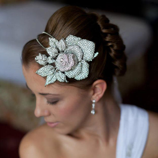 Jennifer wears Rose of Extravagance Side Tiara by Glitzy Secrets