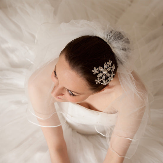 Jessica wears Pearls of Grace Large Headpiece by Glitzy Secrets