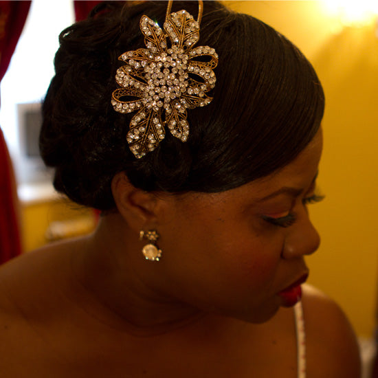 Joy wears Antique Extravagance Side Tiara by Glitzy Secrets