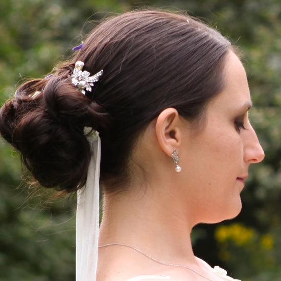 Kelly wears Enchanting Pearl Hair Pins by Glitzy Secrets