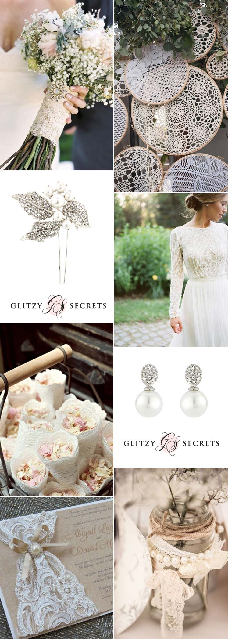 elegant lace and pearl wedding ideas