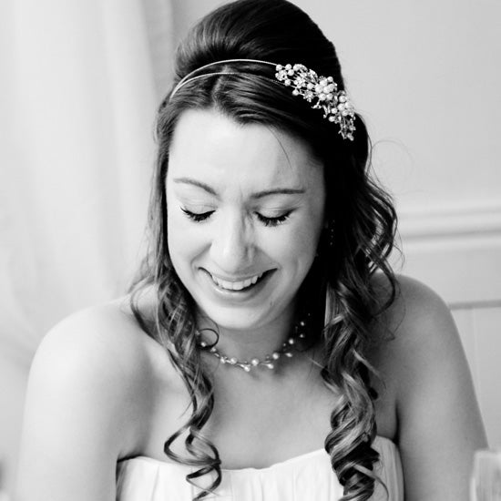Laura wears Heirloom of Pearl Side Tiara by Glitzy Secrets