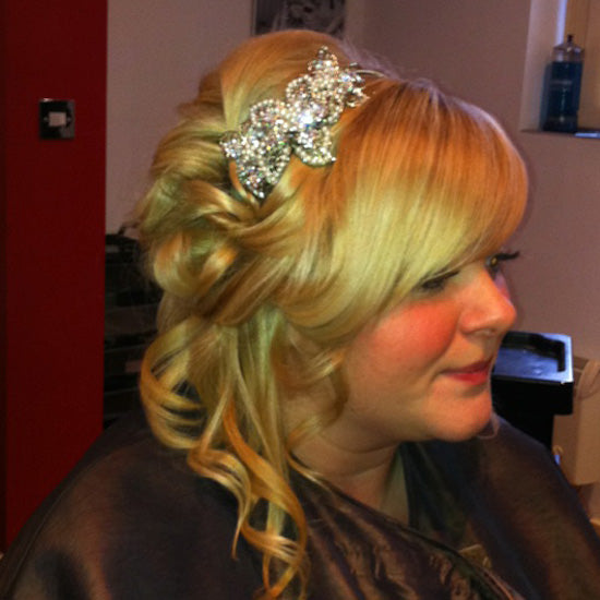 Laura wears Pearl Sensation Side Tiara by Glitzy Secrets