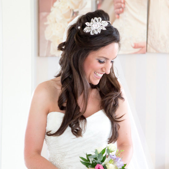 Laura wears Treasured Pearl Side Tiara by Glitzy Secrets