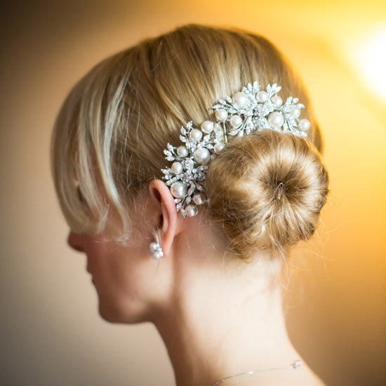 Leah wears Enchanting Pearl Hair Comb by Glitzy Secrets
