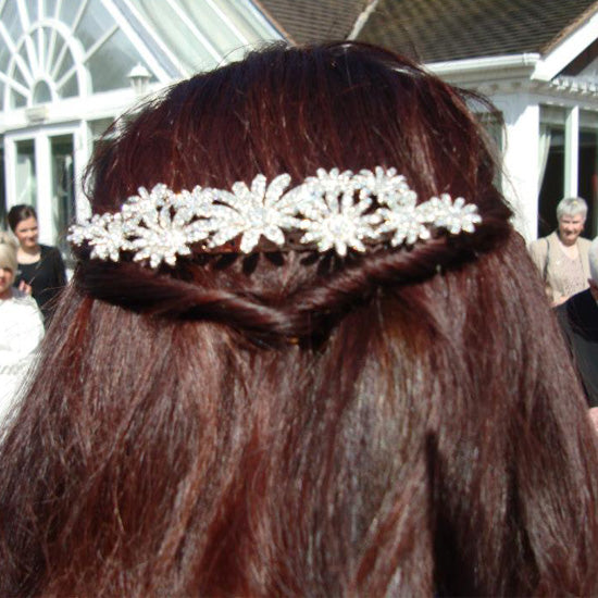 Leeanne wears Daisy Dream Large Hair Comb by Glitzy Secrets