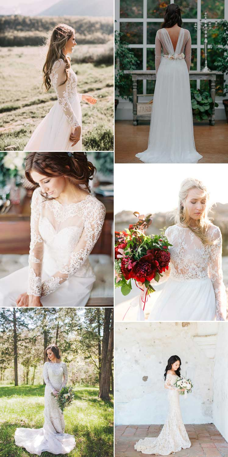 elegant long sleeve wedding dresses