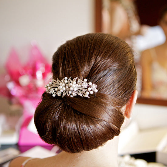 Lyndsey wears Pearls of Extravagance Large Hair Comb by Glitzy Secrets
