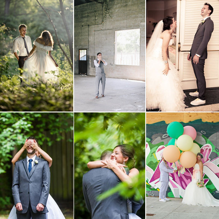 the wonder of those romantic first look wedding photos