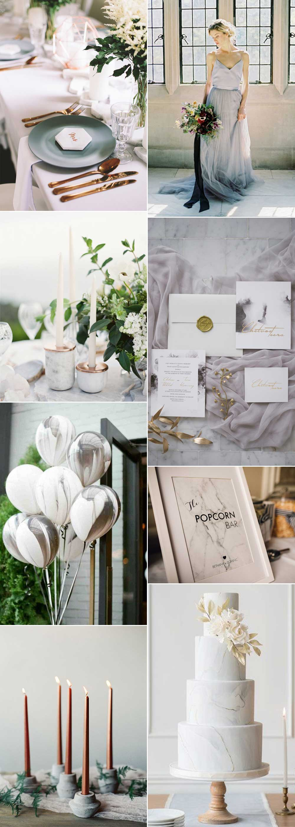 Ideas for a marble wedding theme
