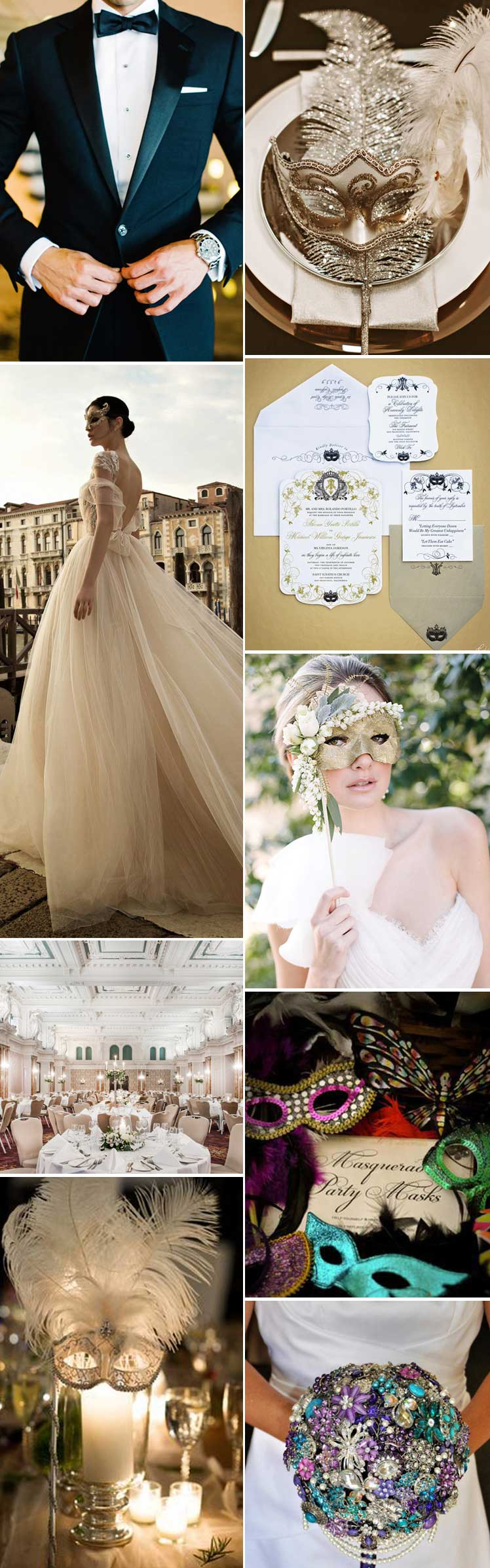 Masquerade wedding theme inspiration for a dramatic style