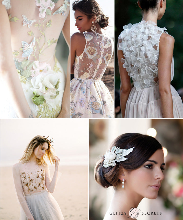 Floral wedding dresses featuring mesh and sparkles